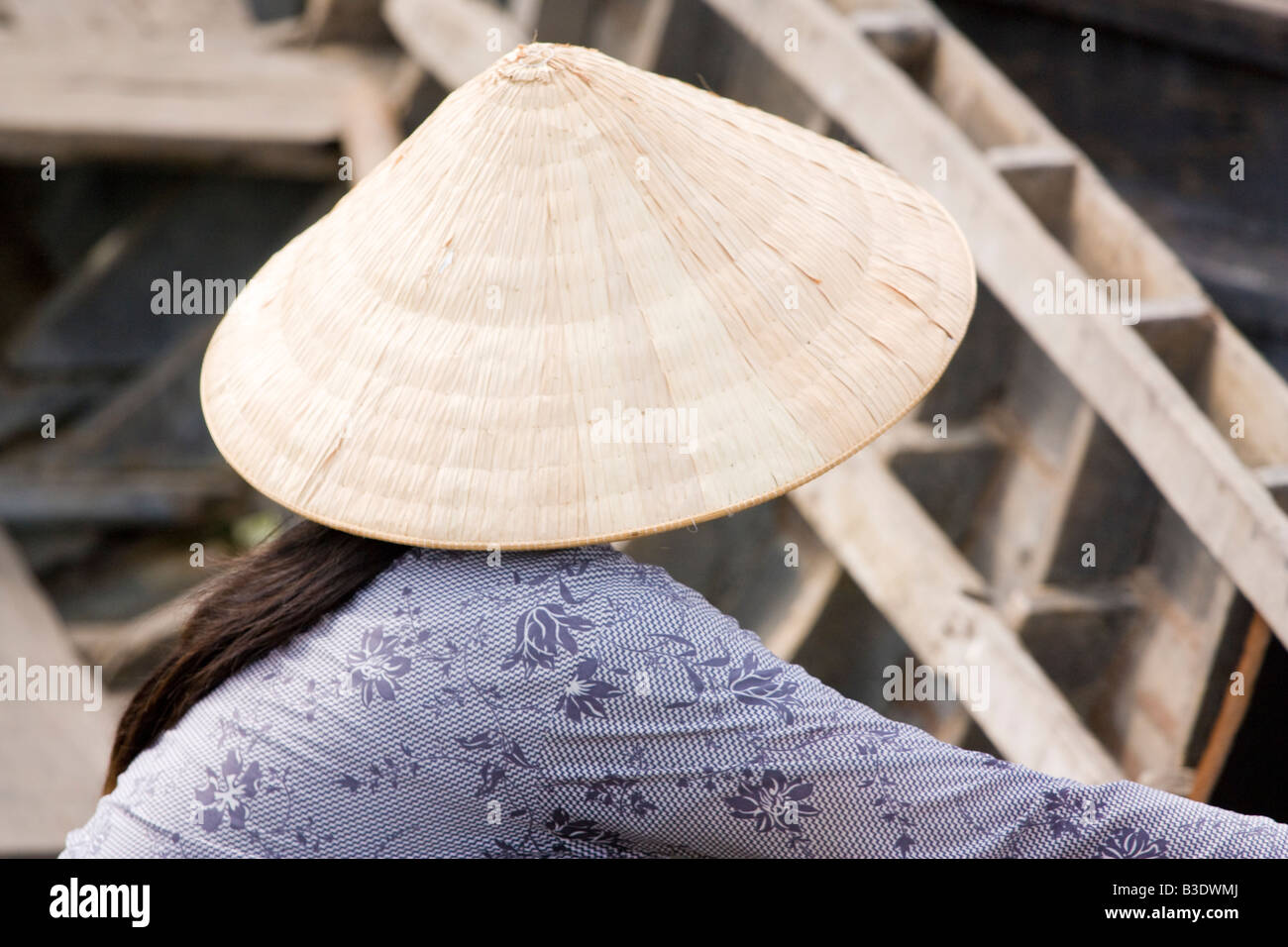 A pretty lady trading at one of the floating markets in Vietnam - Stock Image