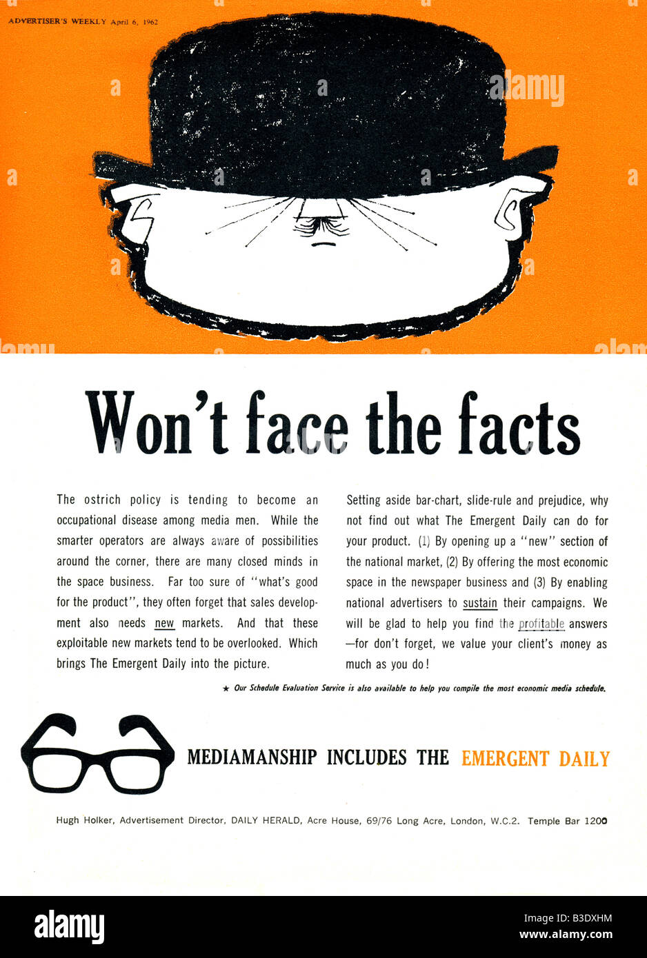 Advertisement for the UK Daily Herald Newspaper from Advertiser's Weekly Journal Magazine 6 April 1962 FOR EDITORIAL - Stock Image