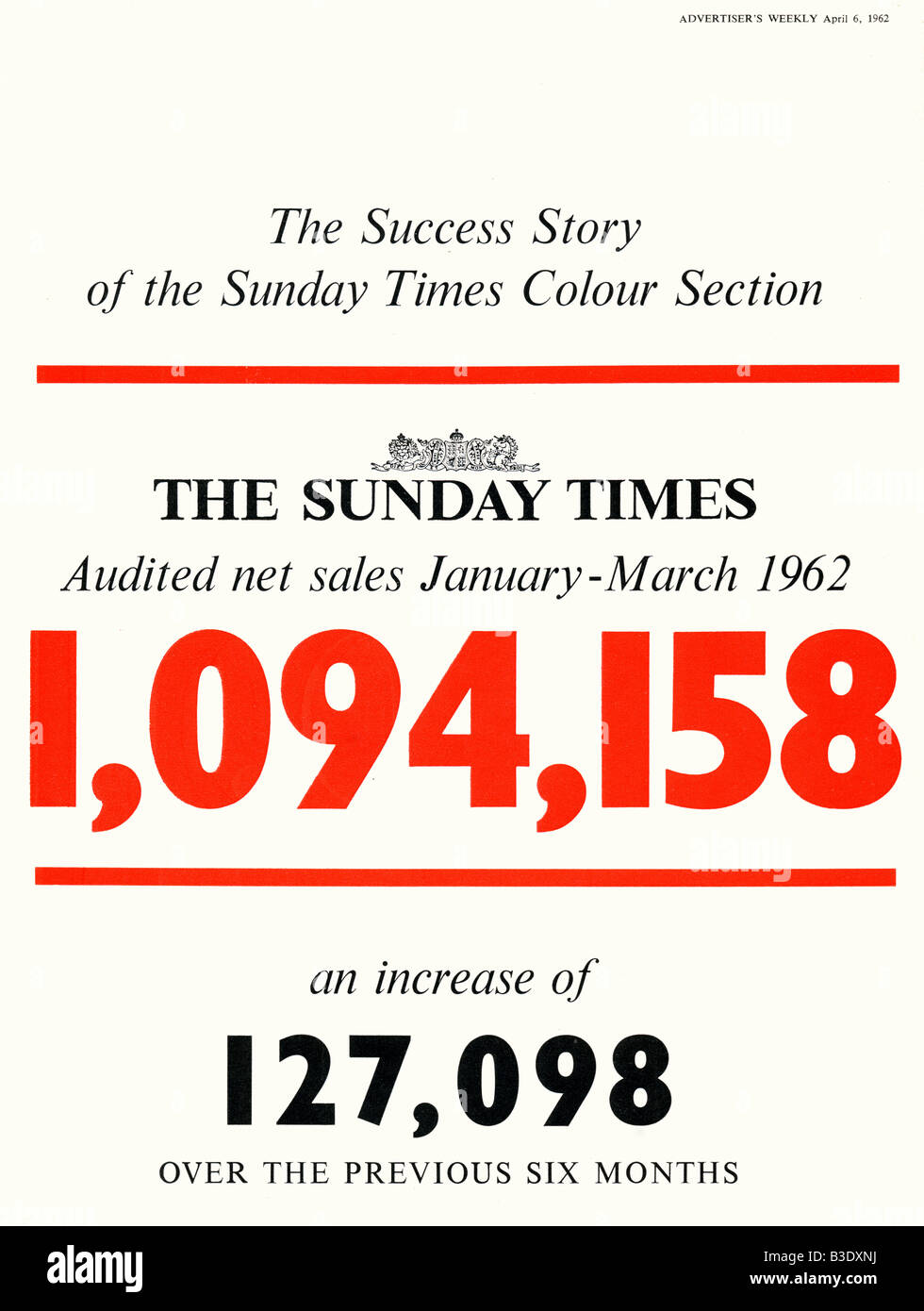 Advertisement for the Sunday Times Newspaper from Advertiser's Weekly Journal Magazine 6 April 1962 FOR EDITORIAL - Stock Image