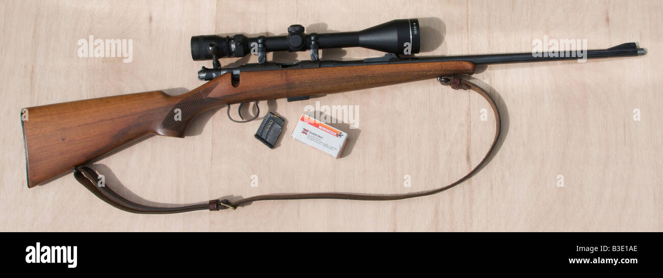 22 rifle 22 calibre caliber sporting rifle POSED BY MODEL FULL RELEASE - Stock Image