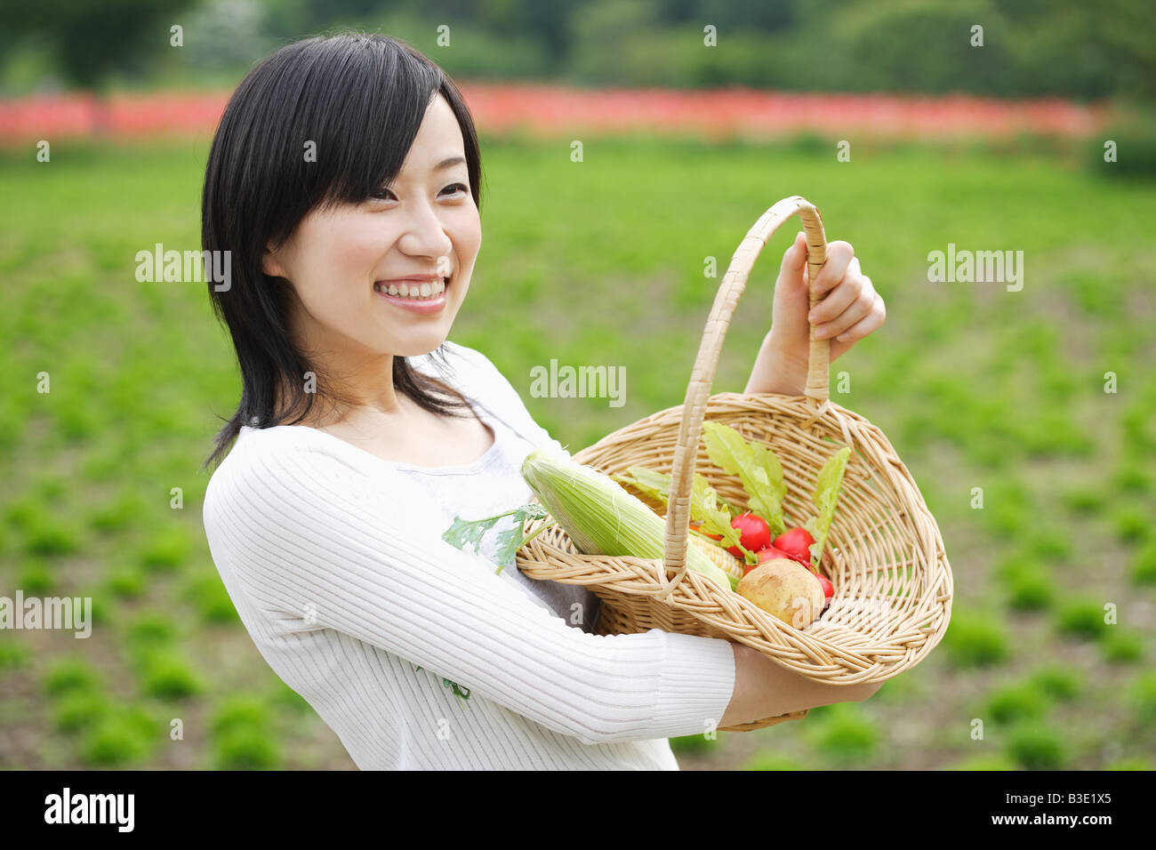 Young smiling woman holding vegetables basket Stock Photo