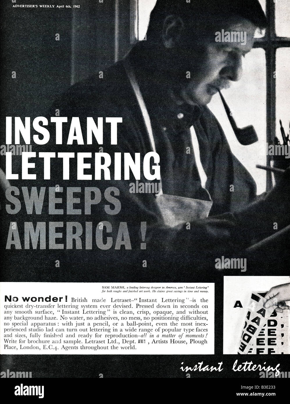 Advertisement for Letraset Instant Lettering from Advertiser's Weekly Journal Magazine 6 April 1962 FOR EDITORIAL - Stock Image
