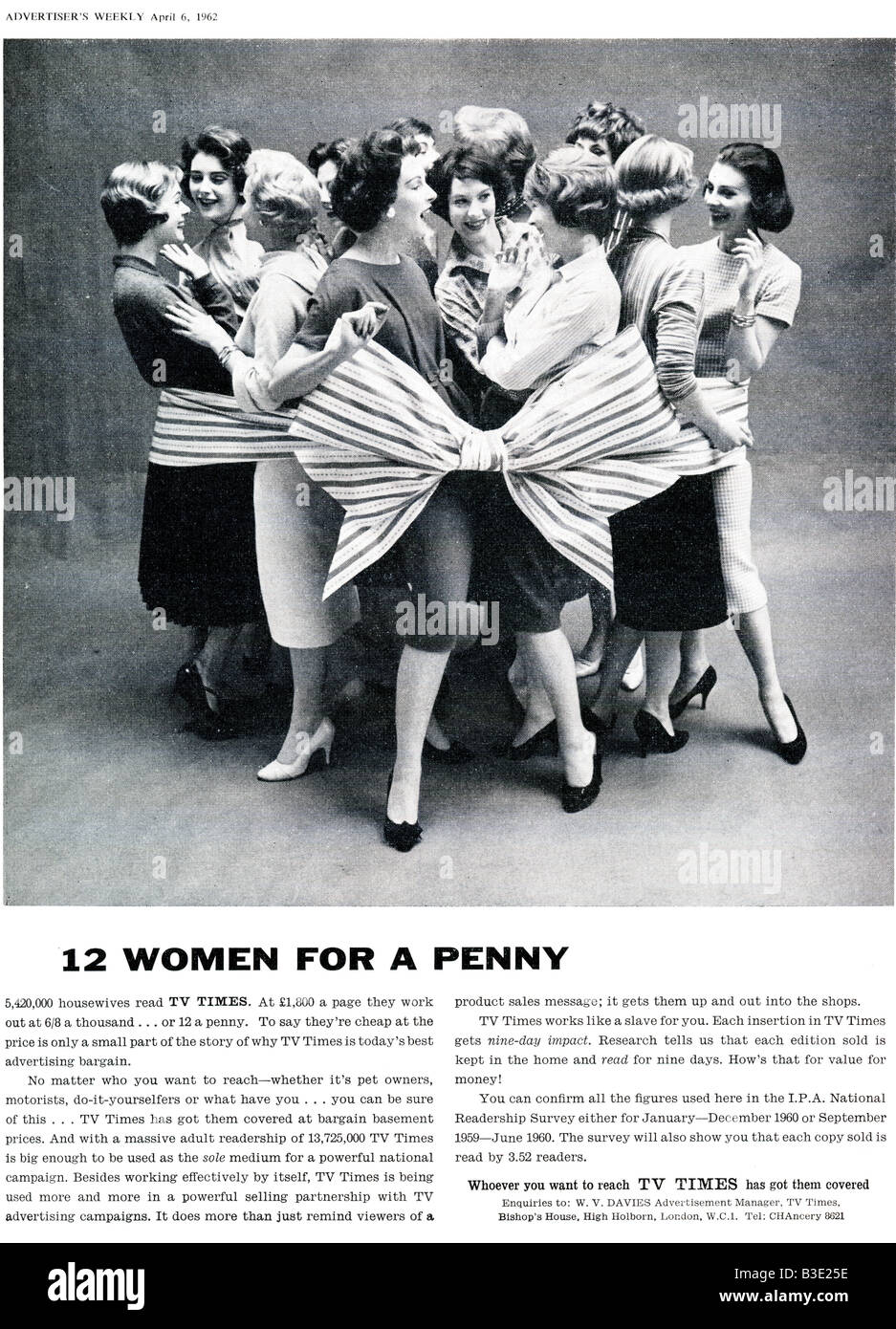 Advert for UK Commercial TV Times Advertising from Advertiser's Weekly Journal Magazine 6 April 1962 FOR EDITORIAL - Stock Image