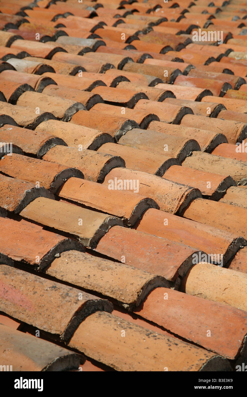 Terracotta roof tiles in Sardinia Italy - Stock Image