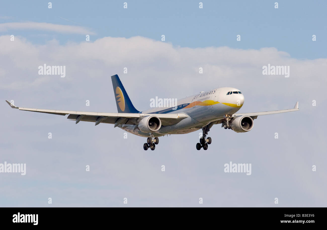 Jet Airways Airbus A330-202 landing at London Heathrow - Stock Image