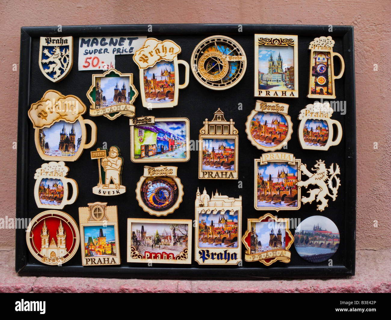Display of fridge magnets in Prague Czech Republic - Stock Image