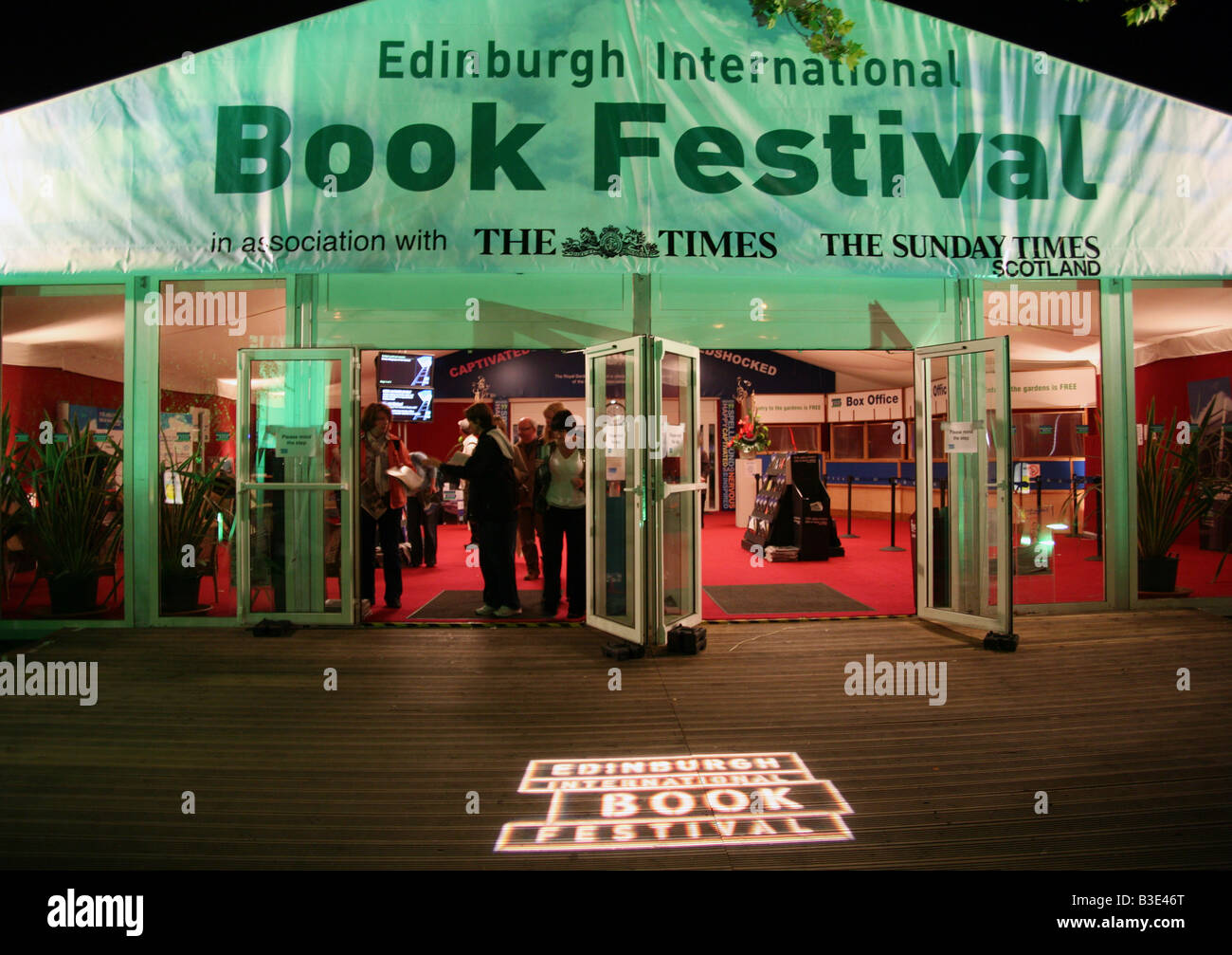 Entrance to Edinburgh International Book Festival in Charlotte Square - Stock Image