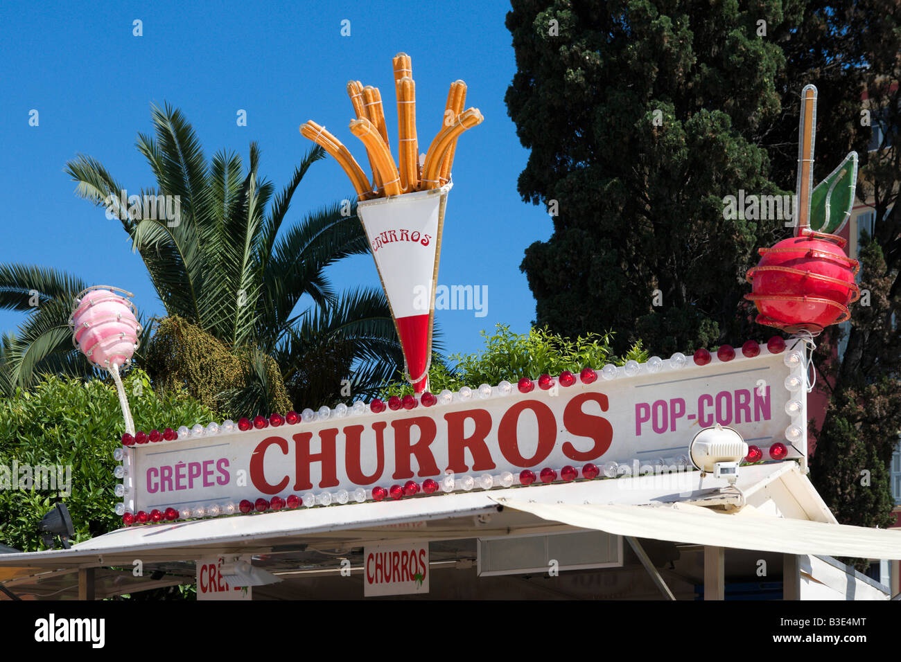 Churro and snack stand in Jardins Albert 1, Place Massena, Nice, Cote d'Azur, French Riviera, France - Stock Image