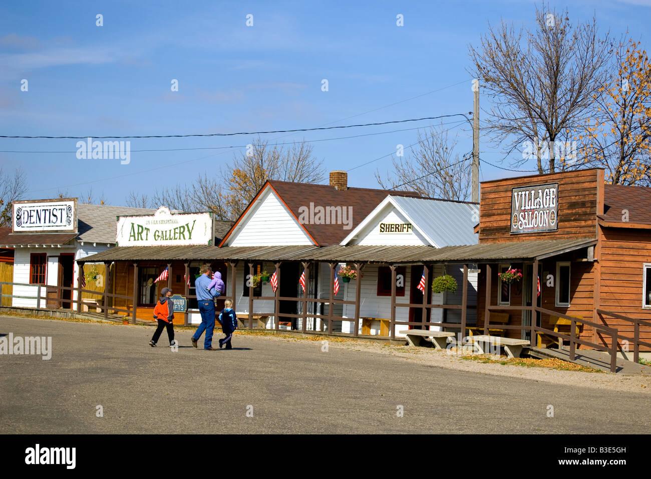 Family touring  Frontier Village at the National Buffalo Museum near Jamestown North Dakota Stock Photo