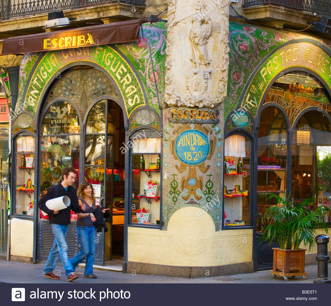 Escribà s delicatessen and pastry shop Las Ramblas Barcelona Catalonia Spain - Stock Image
