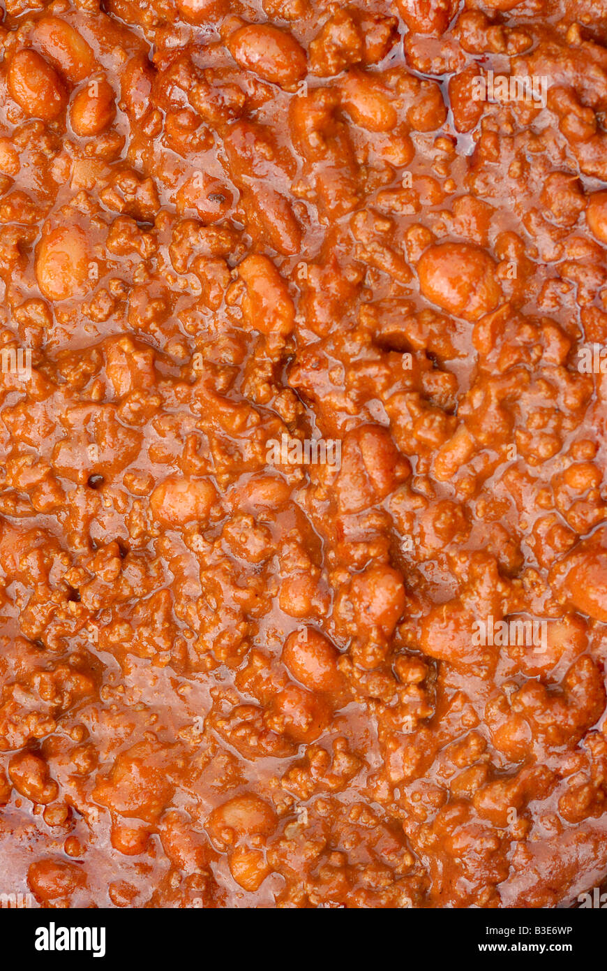 Close up of a big pot of hot chili con carne - Stock Image
