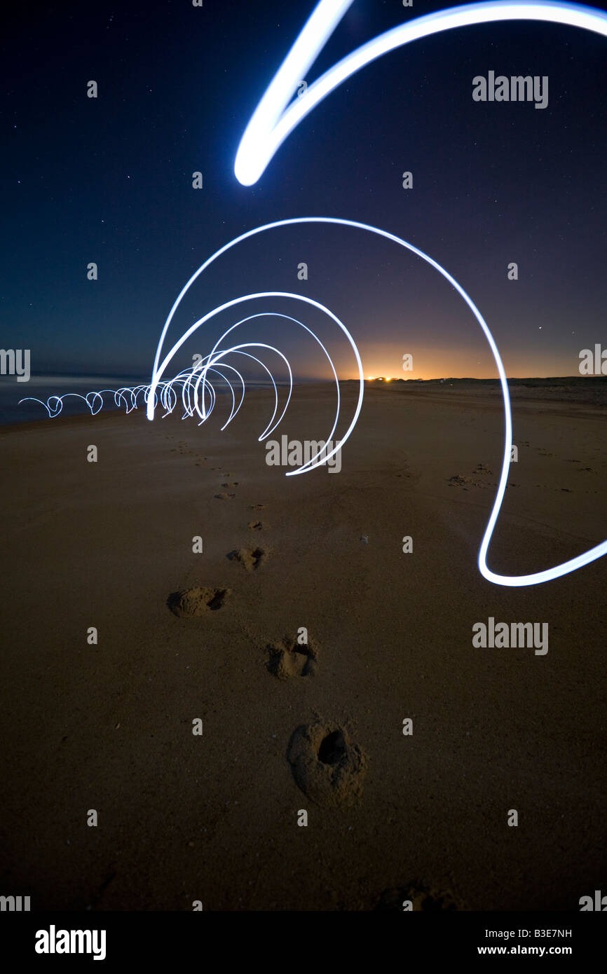 Lighting effects on the Hossegor beach (Landes - France). Jeux de lumières sur la plage d'Hossegor (Landes - Stock Image