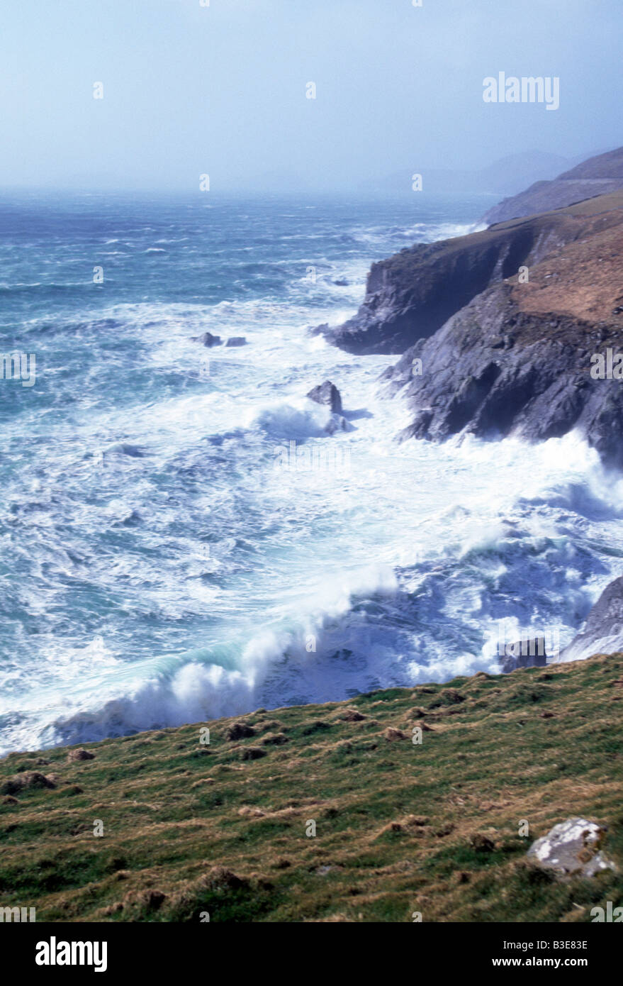 storm force seas lashing irelands atlantic coast Stock Photo