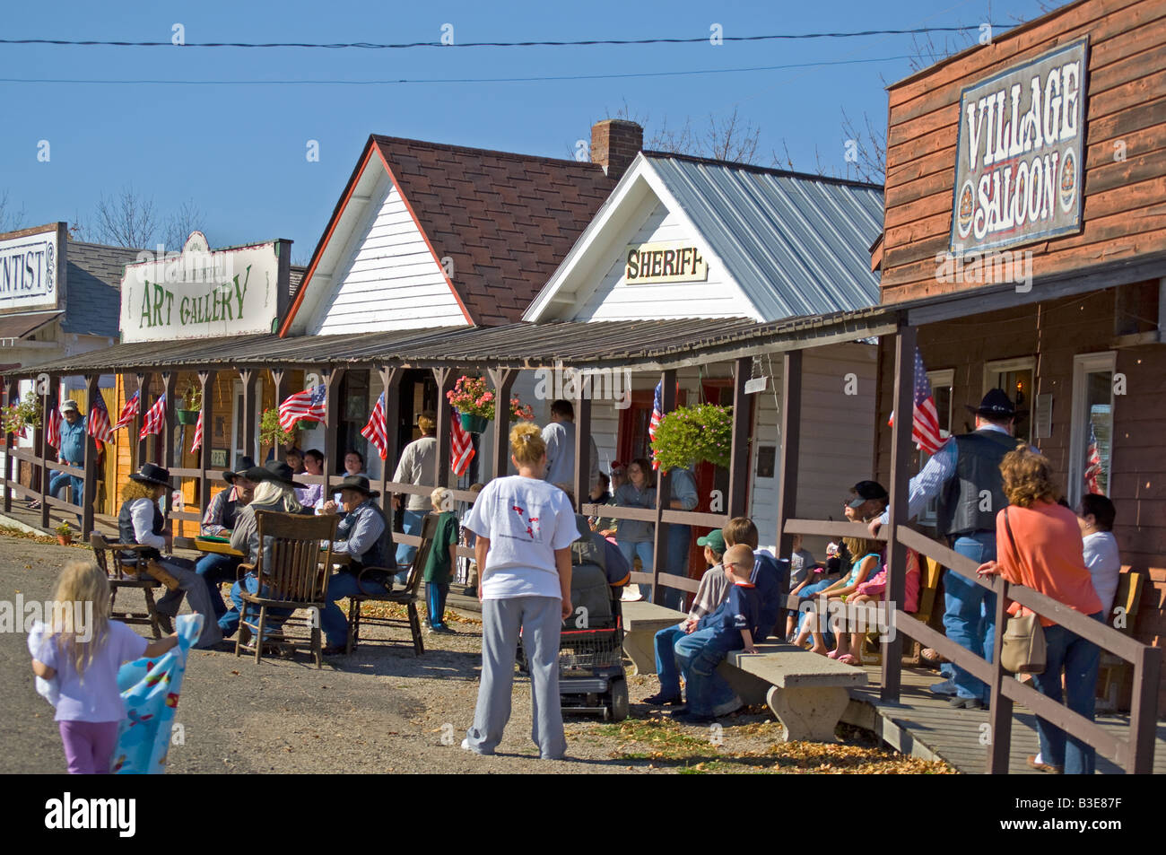 Tourists and re-enactors at Frontier Village at the National Buffalo Museum near Jamestown North Dakota Stock Photo
