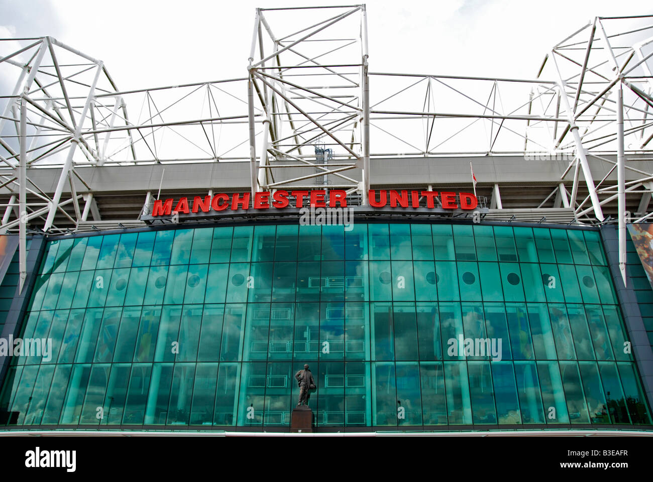 outside the main entrance to old trafford, home of the famous manchester united football club,manchester,uk - Stock Image