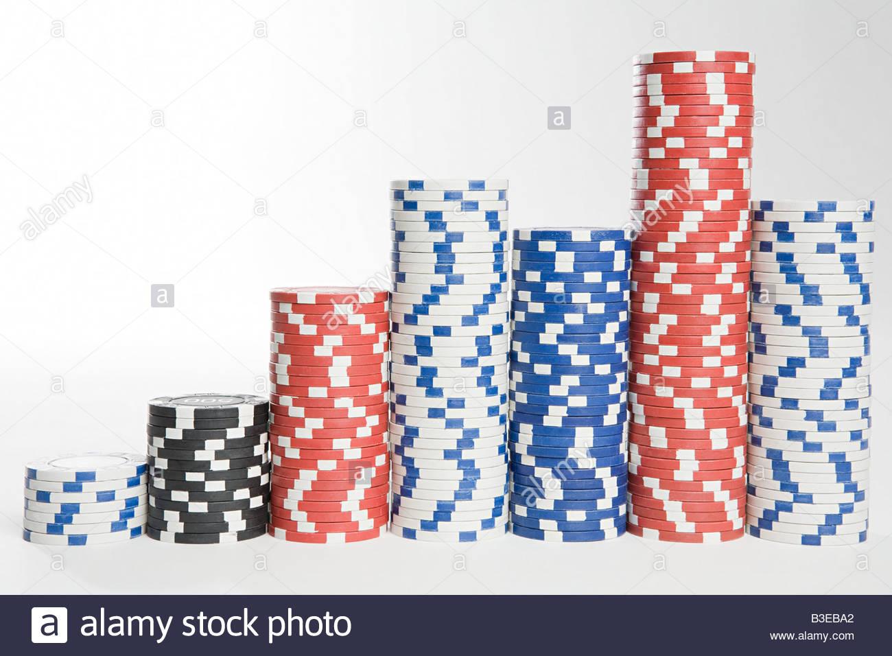 Piles of gambling chips - Stock Image