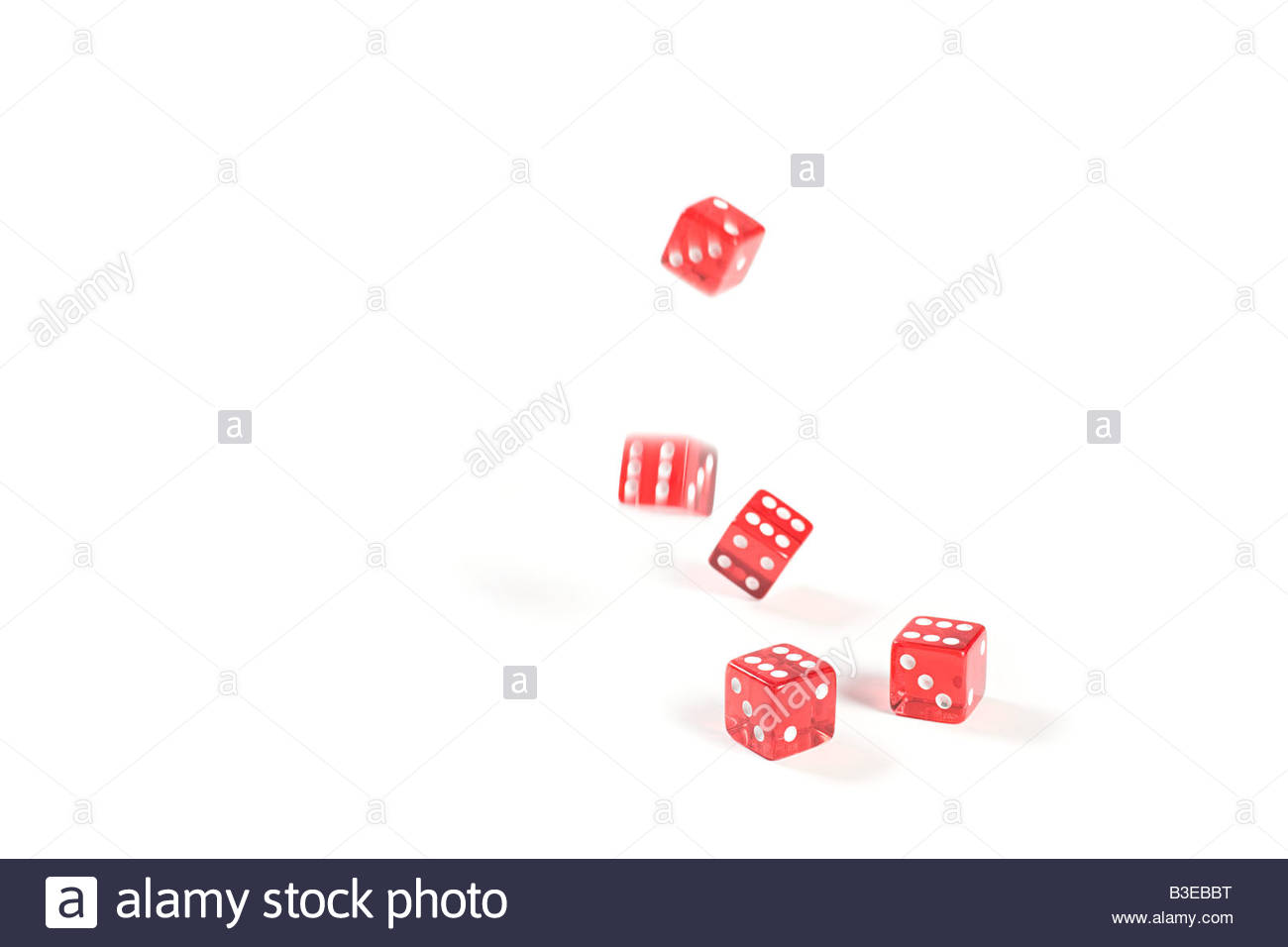 Five dice rolling - Stock Image