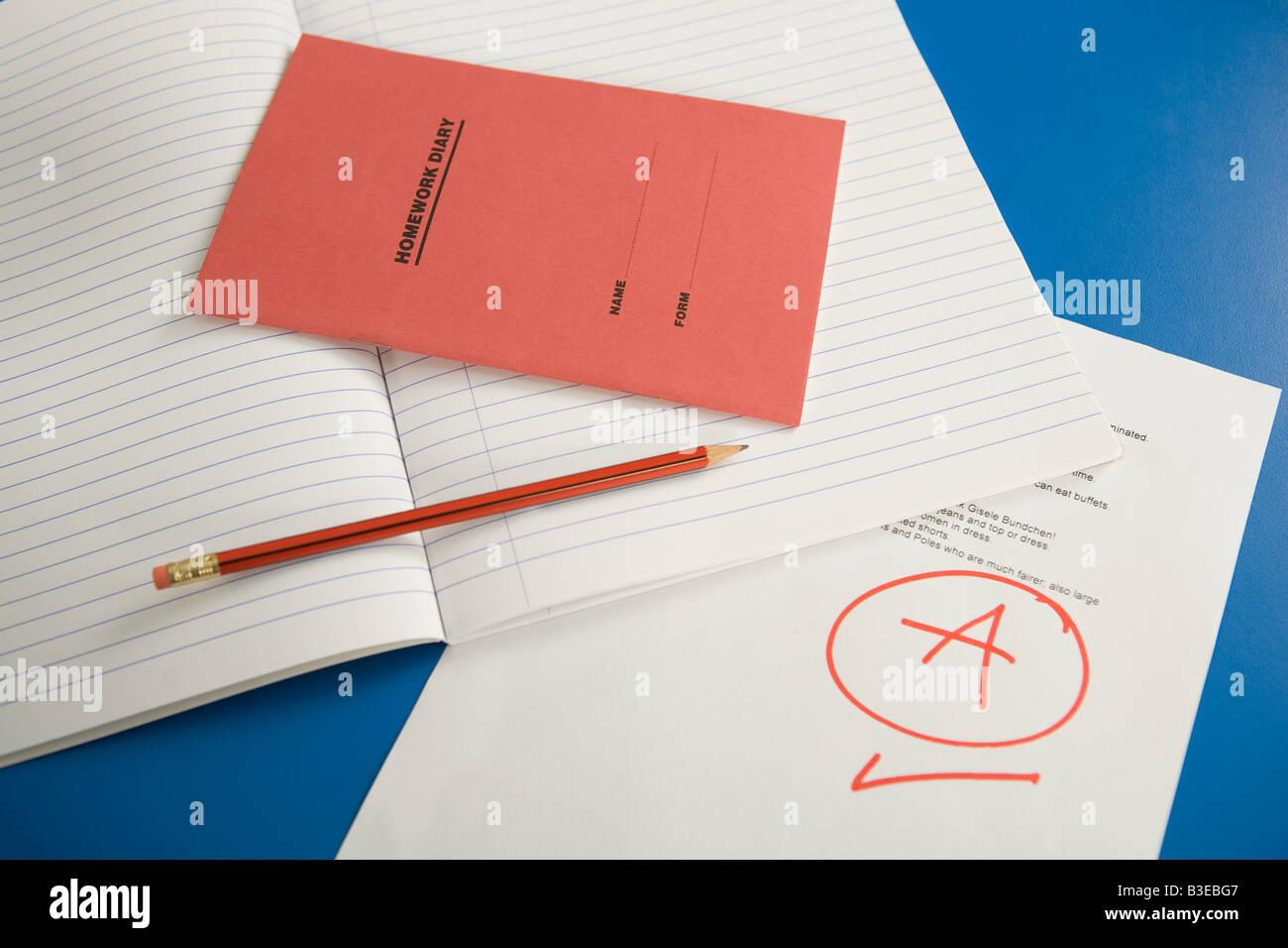 Homework Diary School Education Stock Photos & Homework