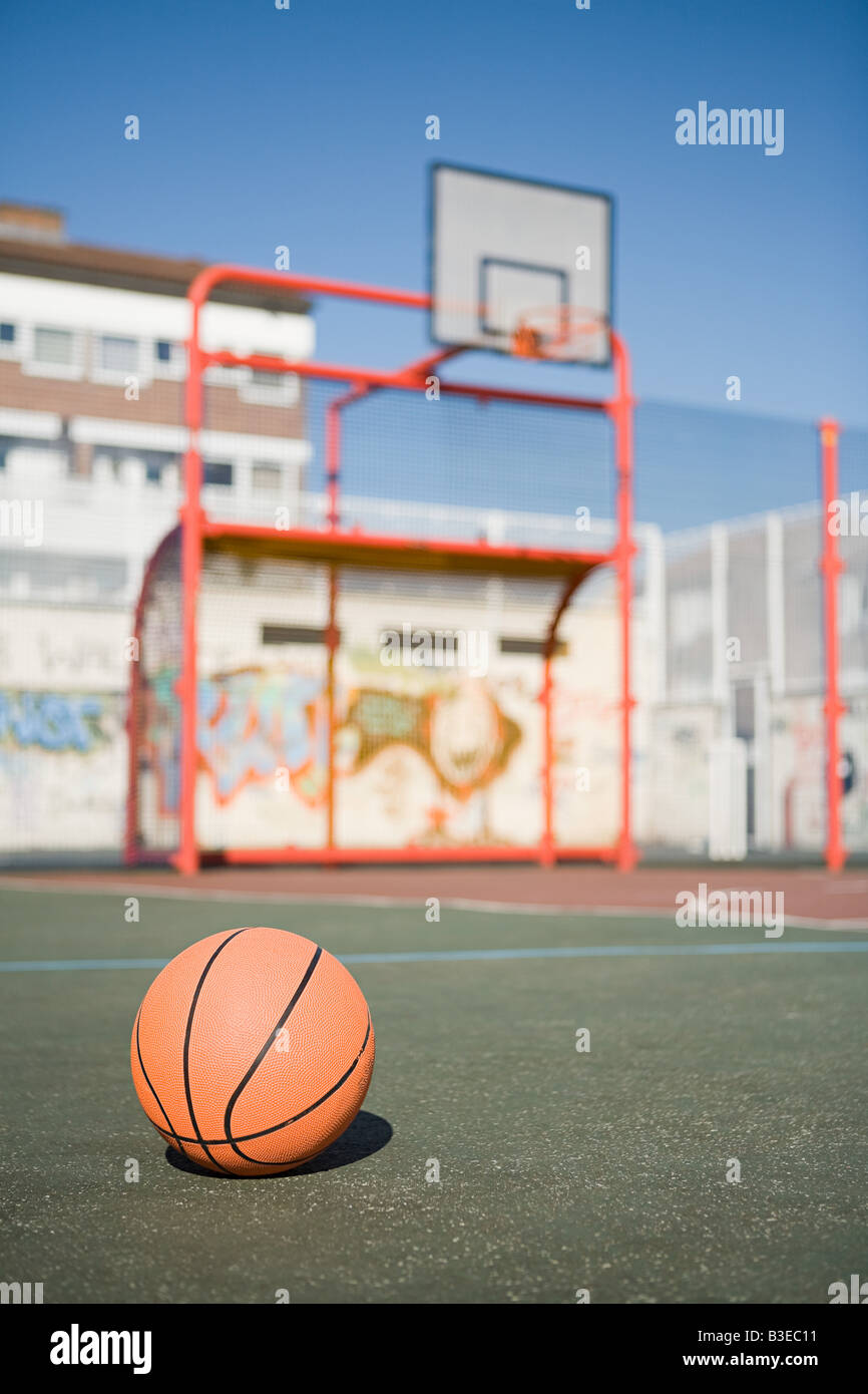 Basetball in court - Stock Image