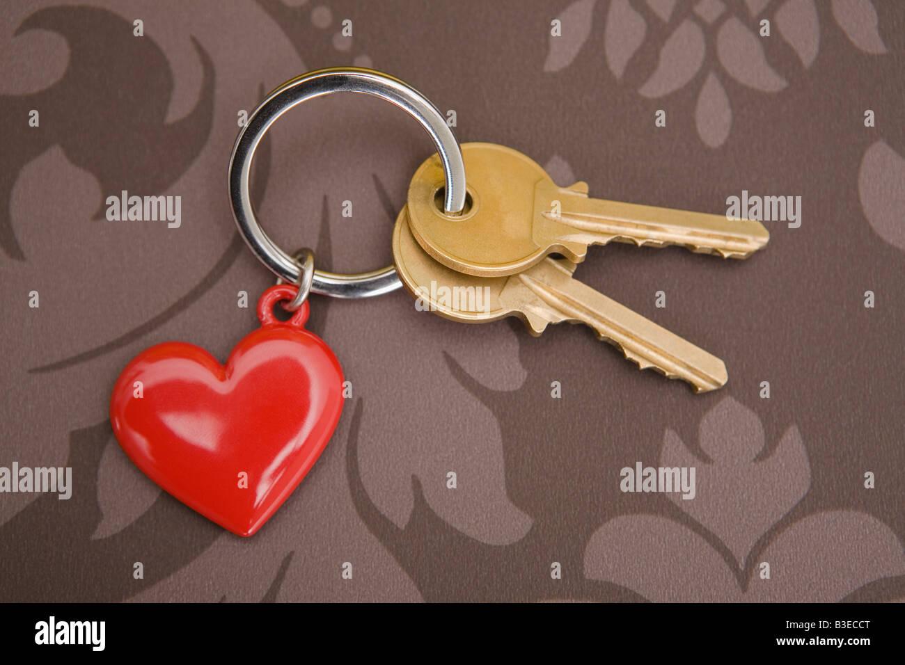 Keys on keyring with heart Stock Photo