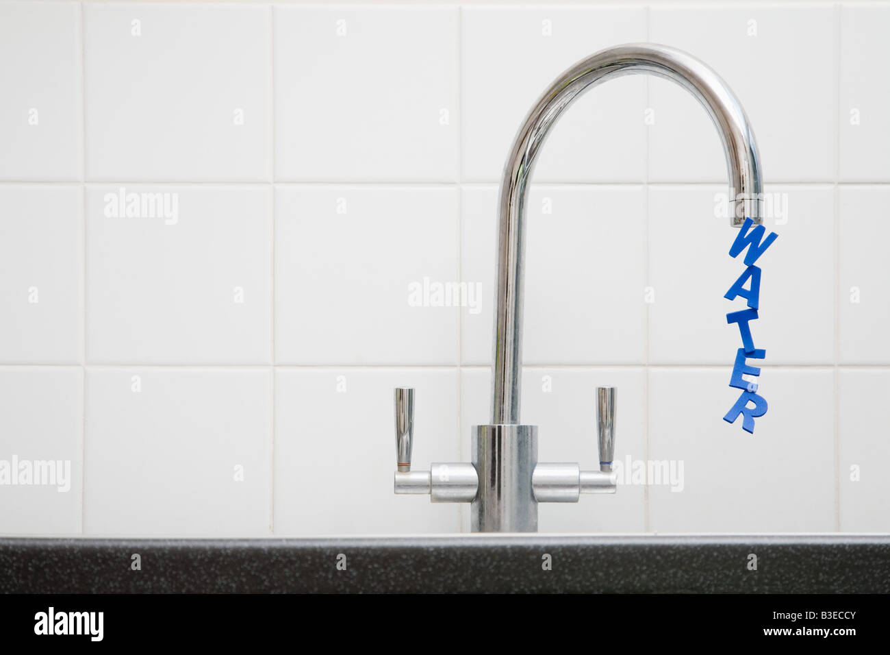 Word water coming out of tap - Stock Image