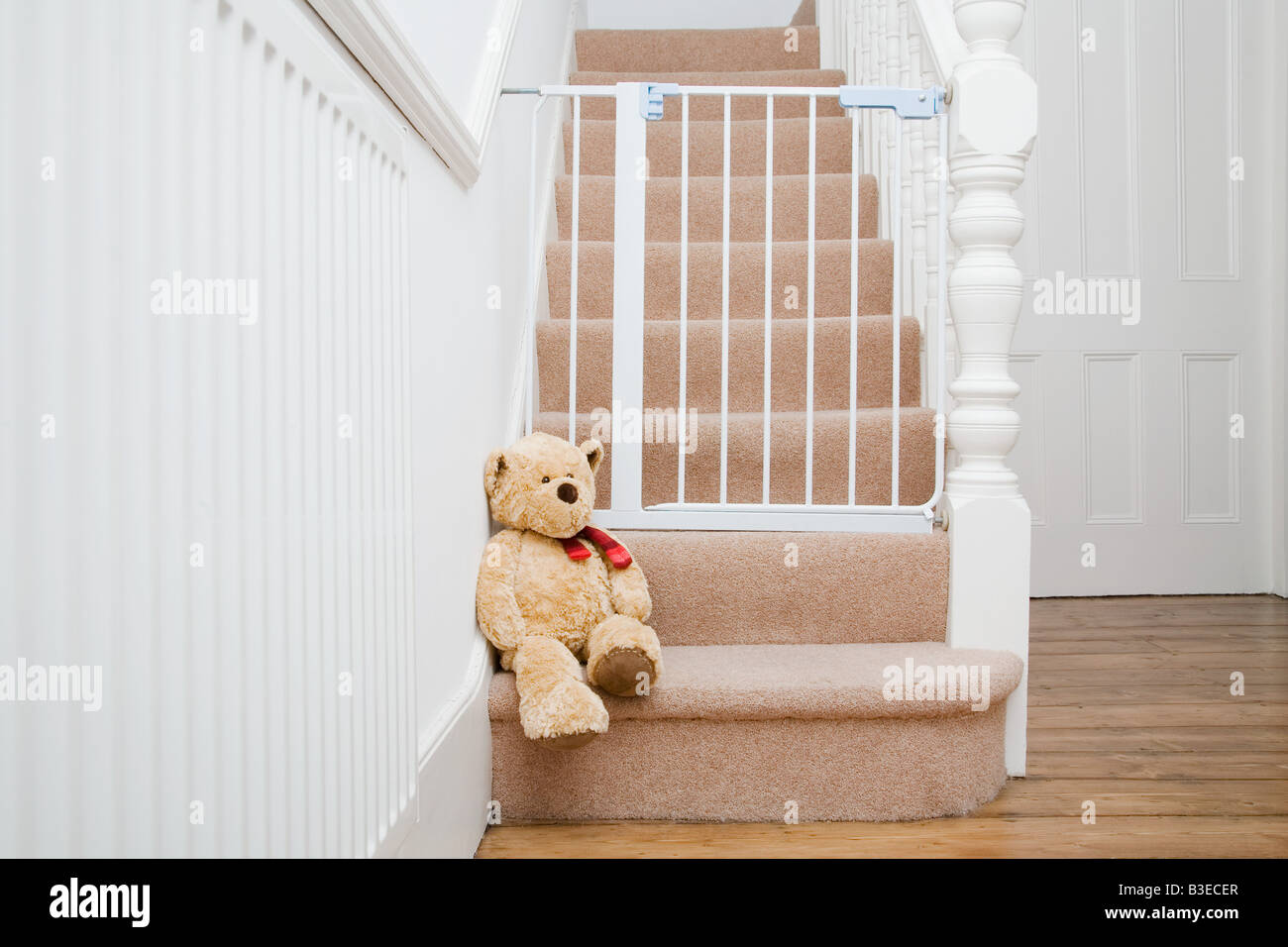 Superb Teddy Bear And Stair Gate   Stock Image