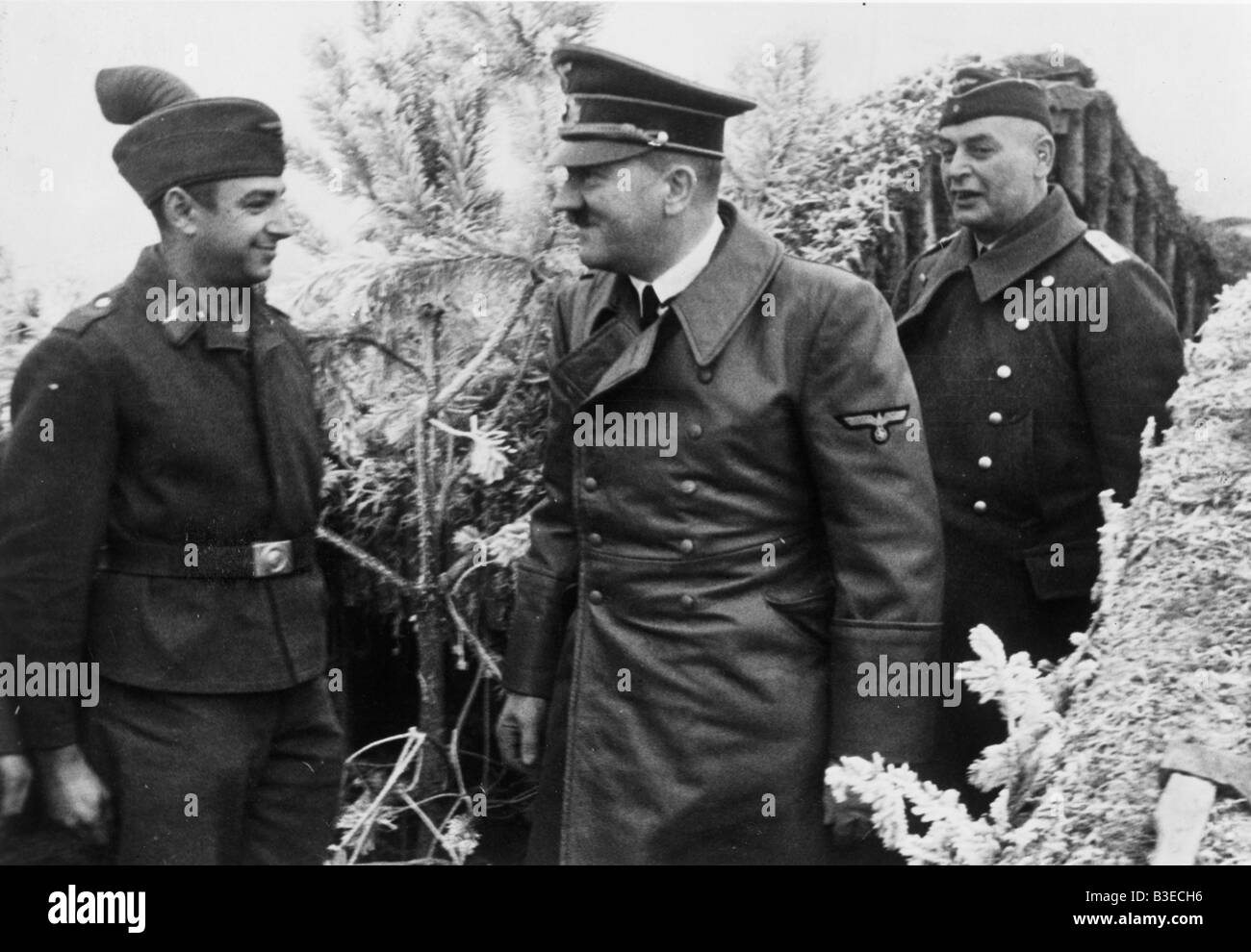 Adolf Hitler in Anti-aircraft gun positi Stock Photo
