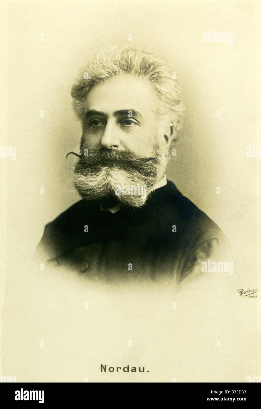 Nordau, Max, 29.7.1849 - 23.1.1923, Jewish/Hungarian physician and author/writer, portrait, picture postcard by - Stock Image