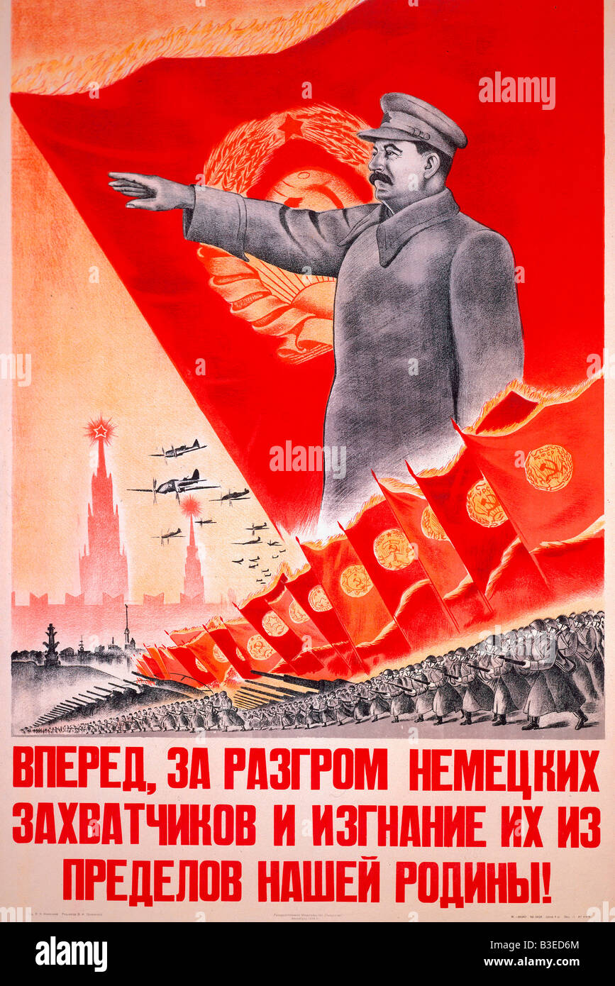 Stalin / Forwards... / Poster - Stock Image