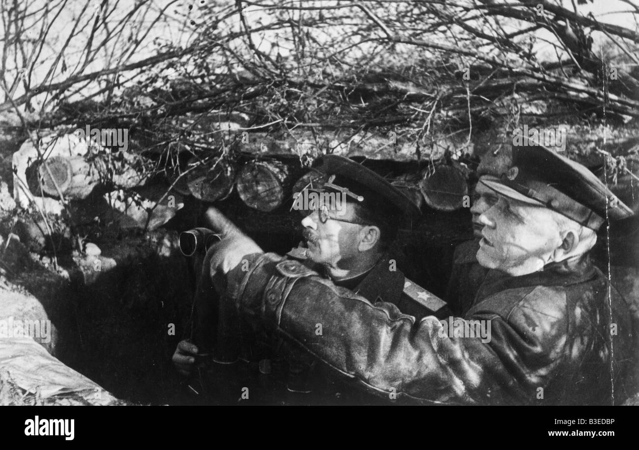 WW2 / Koniev in a dugout / 1944 - Stock Image