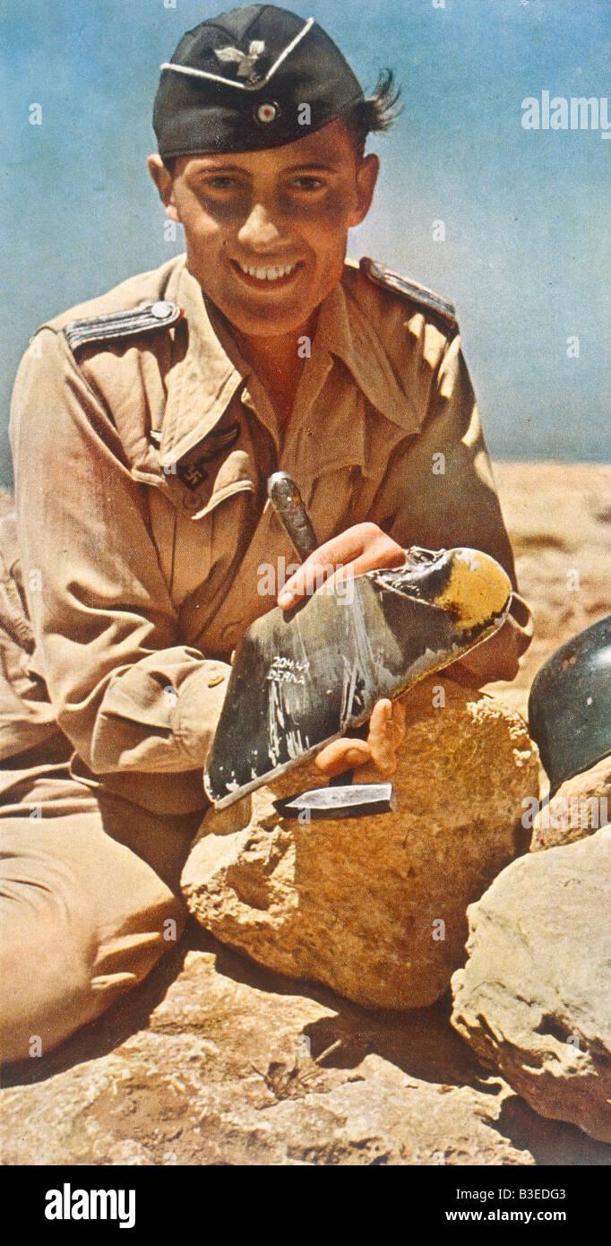 Anti-aircraft gunner, Africa corps, 1941 - Stock Image