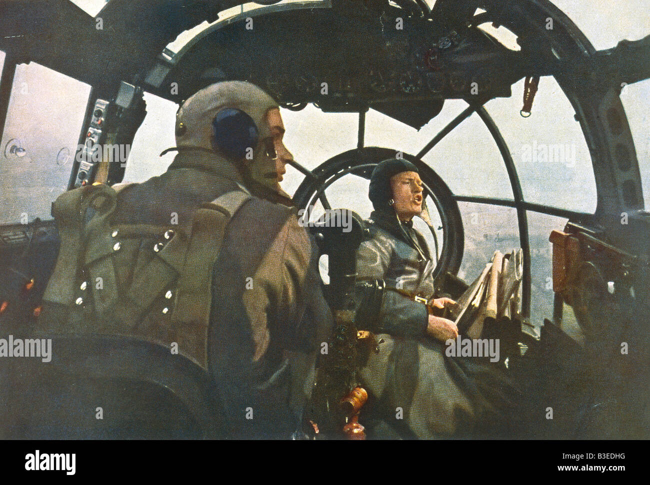 Cockpit during a mission / 1940 - Stock Image