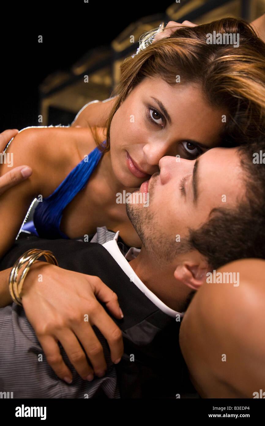 Intimate hispanic couple - Stock Image