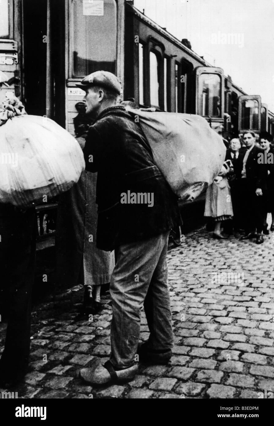 Belgian Workers to Germany /Photo/ 1940 - Stock Image