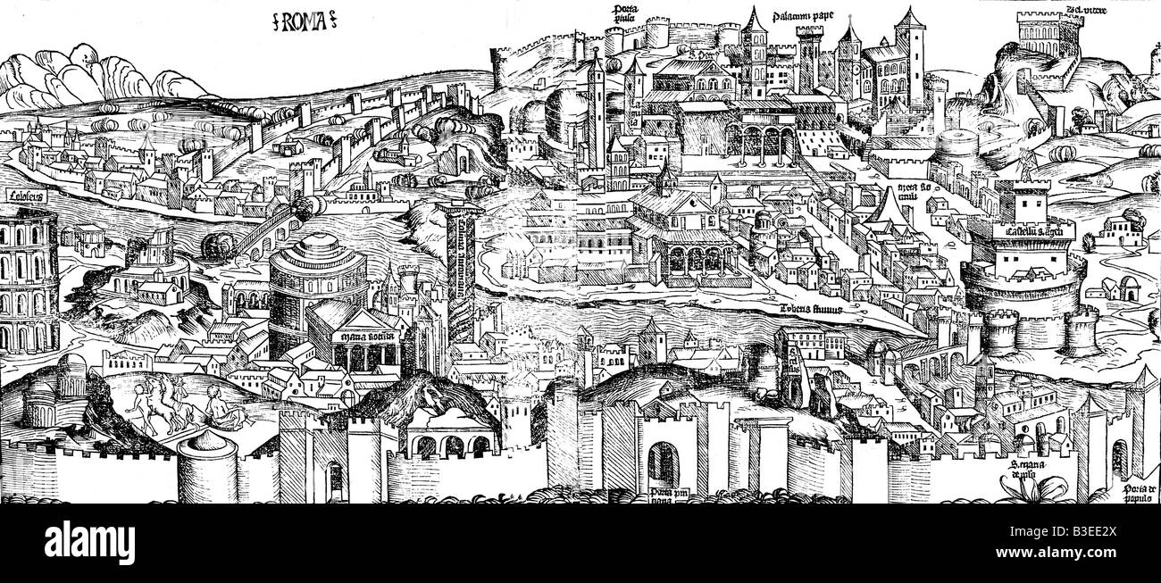 geography / travel, Italy, Rome, cityscape, woodcut, world chronical, Hartman Schedel, 1493, Artist's Copyright - Stock Image