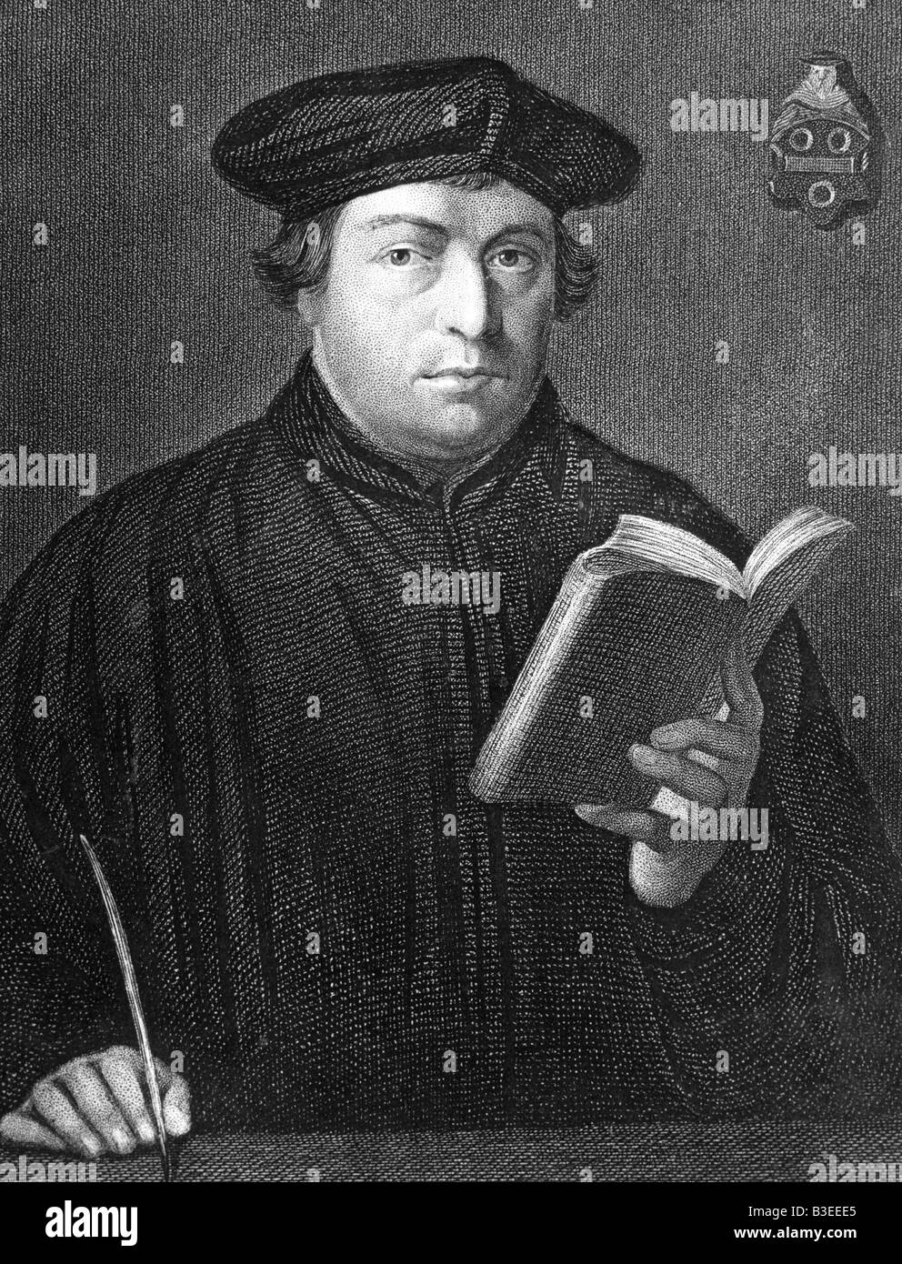 Luther, Martin, 10.11.1483 - 18.2.1546, German theologian, ecclesiastical reformer, half length, , Additional-Rights - Stock Image