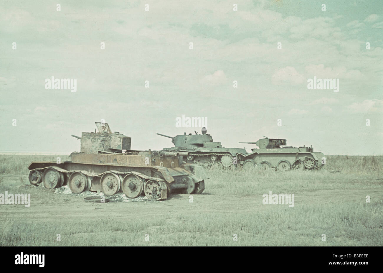Destroyed Soviet tanks, E.Front / WWII - Stock Image