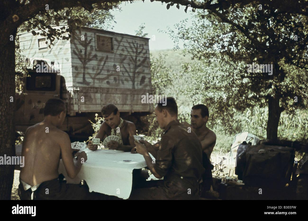 German `PK' men playing cards/WWII/1941 - Stock Image