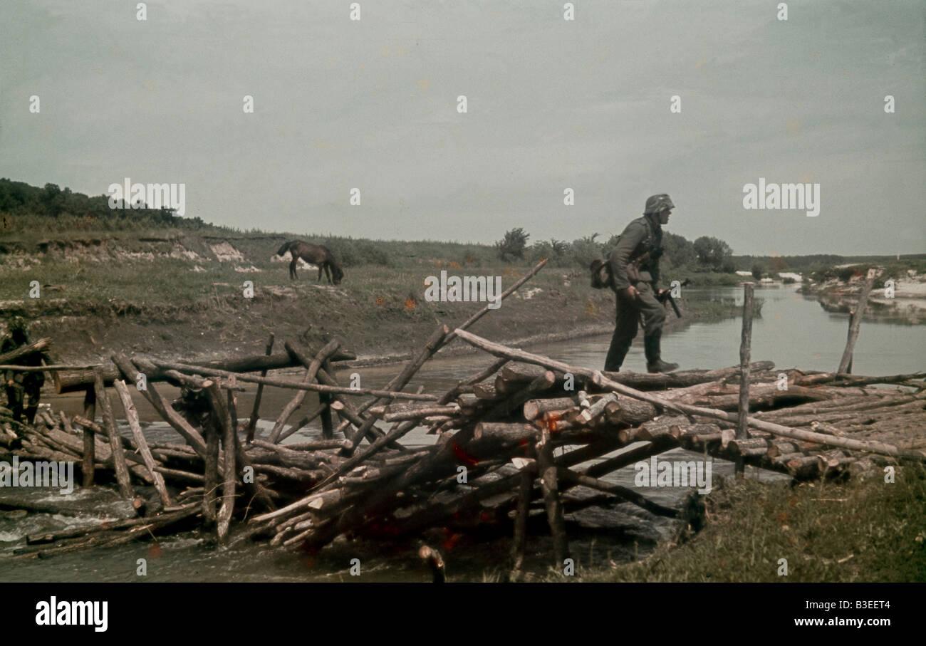 Reconnaissance soldier on bridge / 1942 - Stock Image