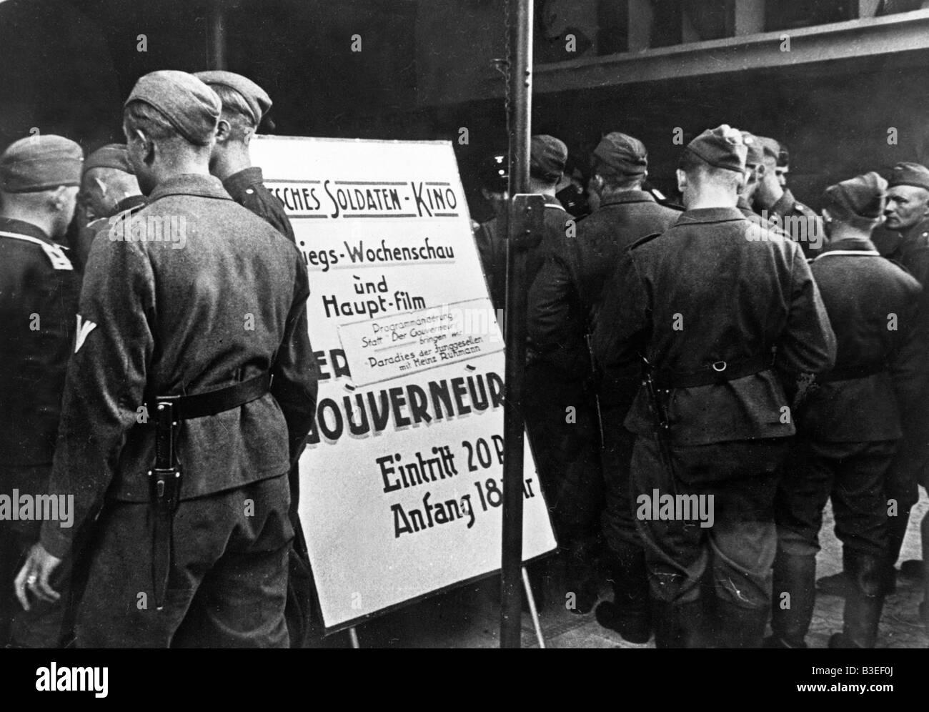German Soldiers' Cinema, Paris / 1940 - Stock Image