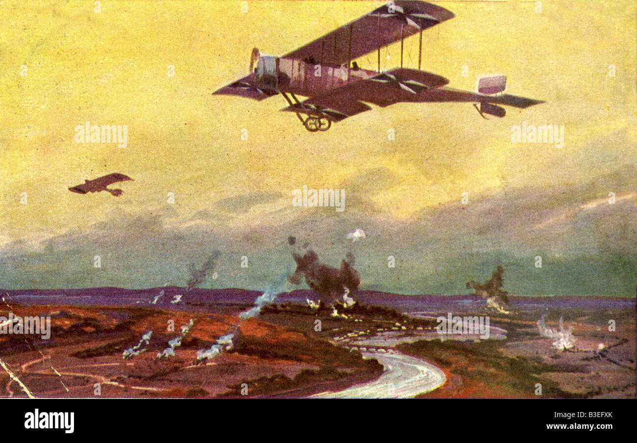 events, First World War / WWI, aerial warfare, France, German airplane on a reconnaissance flight over the Marne, Stock Photo