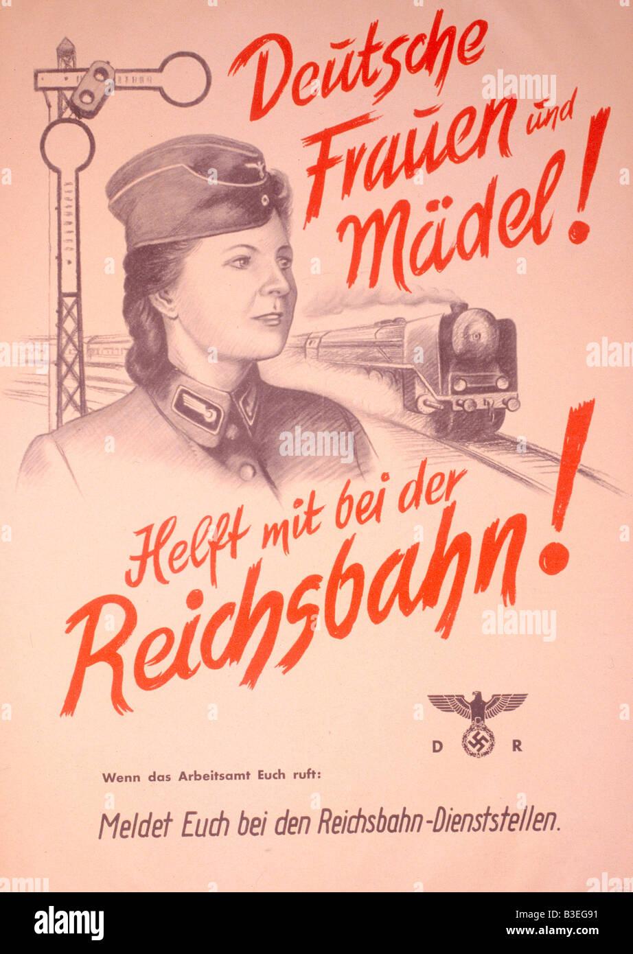 NS-Propaganda Poster/Second World War. - Stock Image