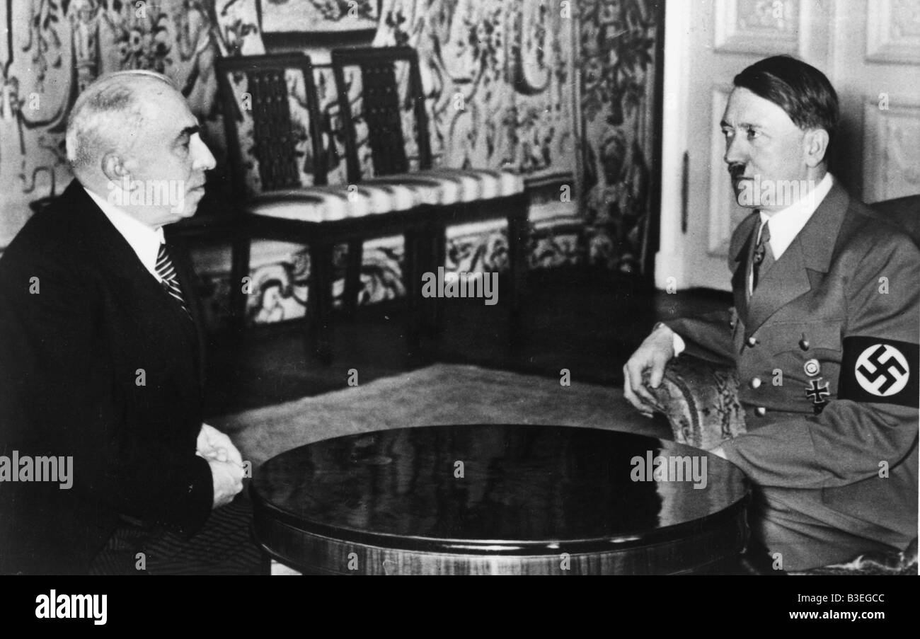 Hitler and Hacha in Prague, 1939. Stock Photo