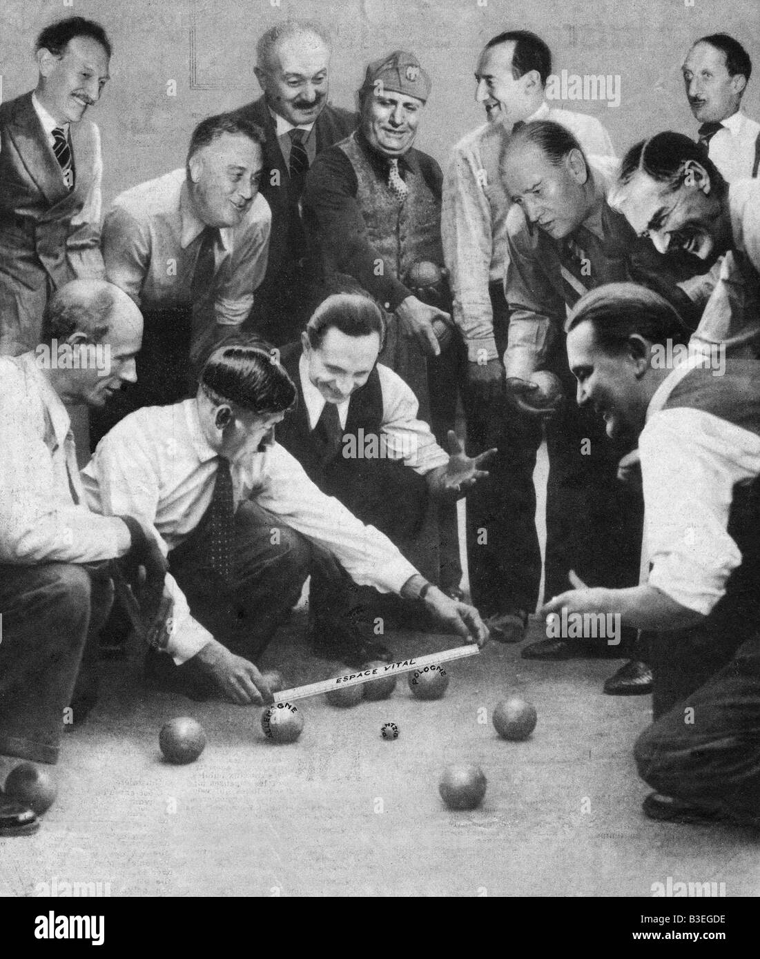 Boule-game, Caricature, August 1939 - Stock Image