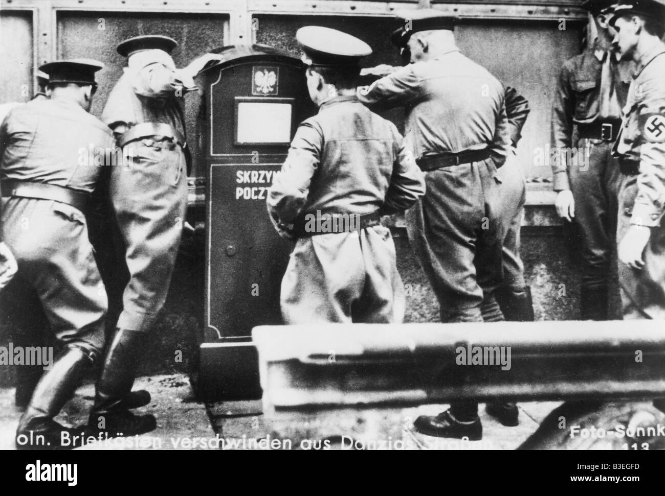 Removal of Polish postboxes in Danzig Stock Photo