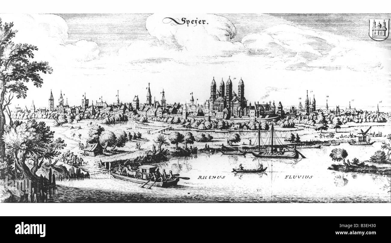 geography / travel, Germany, Rheinland-Pfalz, Speyer, city views / cityscapes, engraving, circa 17th century, historic, - Stock Image