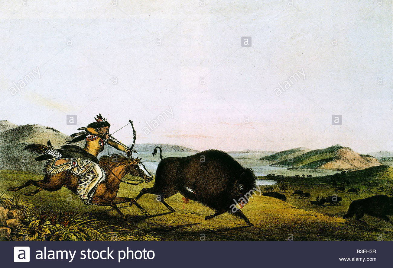 geography / travel, USA, Native American Indian hunting buffalo, painting, Peter Rindisbacher, circa 1830, animal, - Stock Image