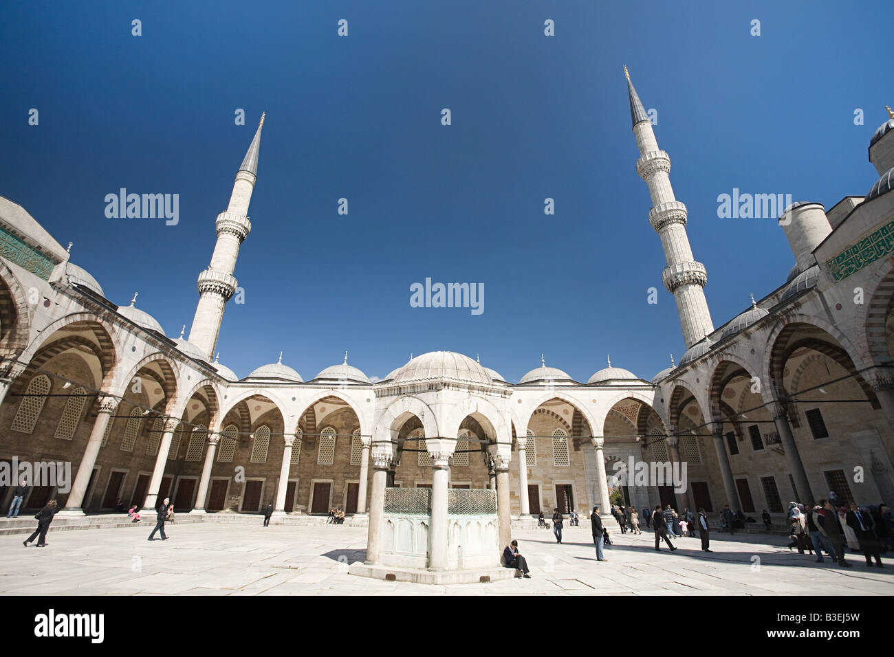 Courtyard of blue mosque istanbul - Stock Image