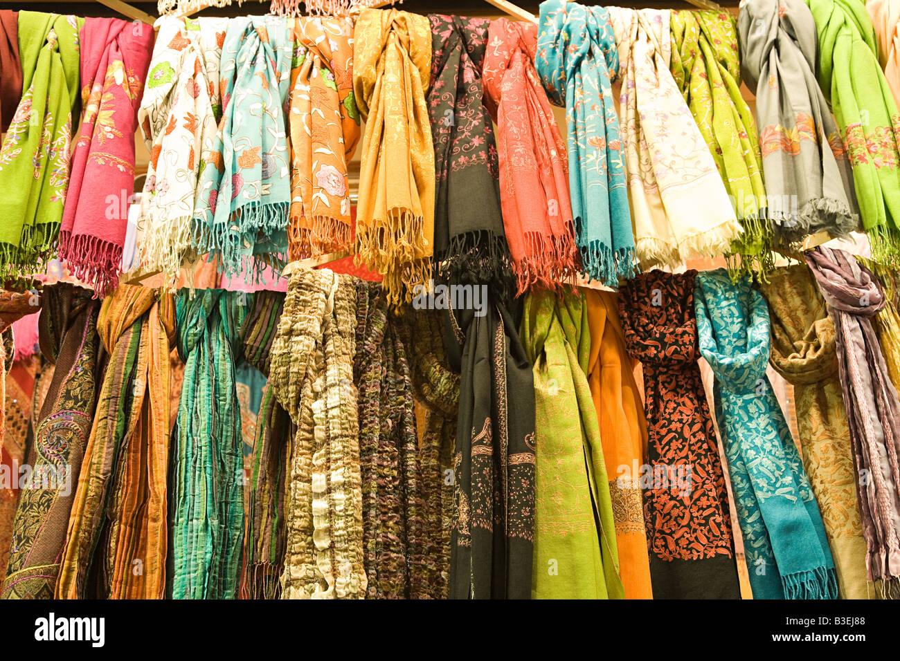 Scarves in grand bazaar - Stock Image