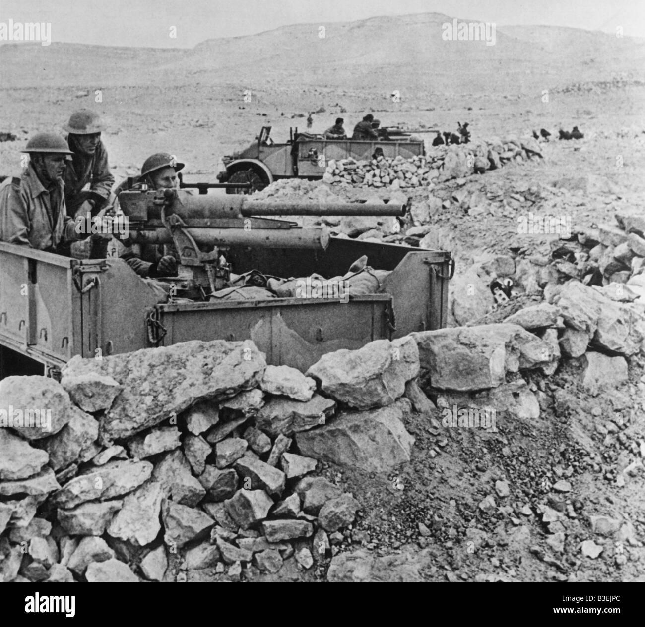 British artillery before Tobruk,1941 - Stock Image